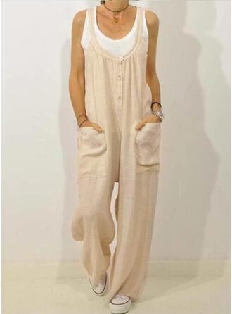 Einfarbig Taschen Shirred Übergröße Lange Lässige Kleidung Elegant Lange Hosen
