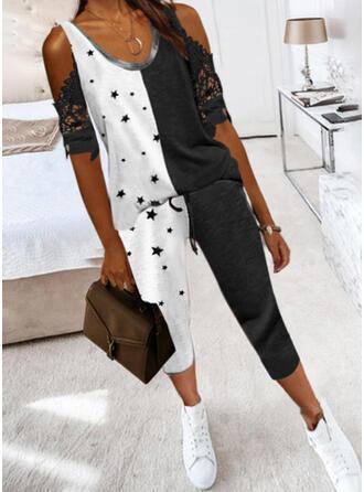Geometric Print Plus Size Mesh Sexy Lace Suits