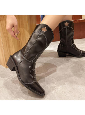 Women's Leatherette Chunky Heel Mid-Calf Boots Pointed Toe With Solid Color Embroidery shoes
