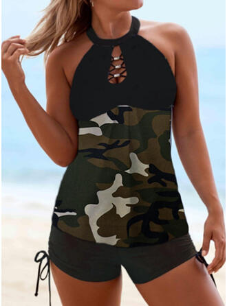 Hollow Out Drawstring Halter Round Neck Sexy Classic Tankinis Swimsuits