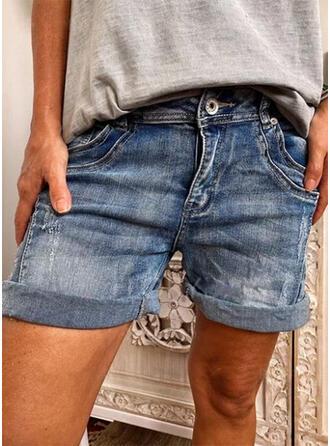 Denim Above Knee Casual Plus Size Pocket Button Pants Shorts Denim & Jeans