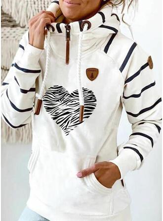 Print Striped Heart Pockets Long Sleeves Hoodie