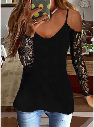 Solid Lace Cold Shoulder Long Sleeves Cold Shoulder Sleeve Elegant Blouses