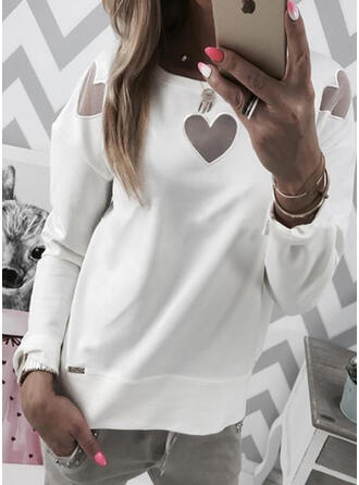 Solid Heart Round Neck Long Sleeves Sweatshirt