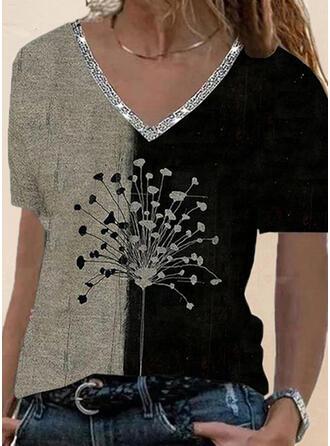 Color Block Dandelion Print Sequins V-Neck Short Sleeves T-shirts