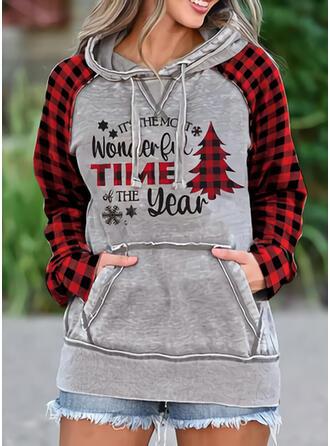 Drucken Gitter Figur Lange Ärmel Weihnachts-Sweatshirt