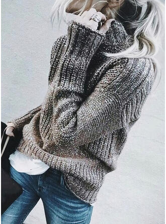 Solid Turtleneck Casual Sweaters