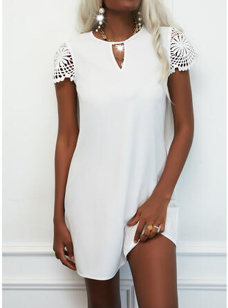 Solid Lace Short Sleeves Shift Knee Length Casual Dresses