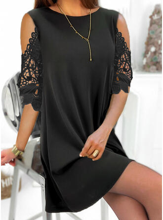 Lace/Solid 1/2 Sleeves Shift Above Knee Little Black/Elegant Tunic Dresses