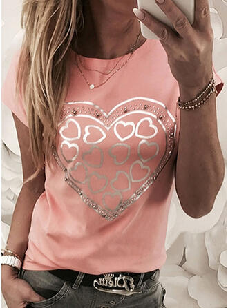 Beaded Heart Print Sequins Round Neck Short Sleeves T-shirts