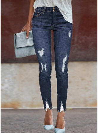 Shirred Zerrissen Leopard Lange Elegant Sexy Denim Jeans