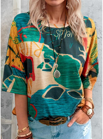 Print Letter Round Neck 3/4 Sleeves T-shirts