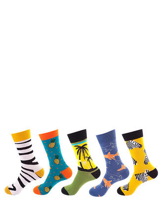 Country Style/Colorful/Crochet Colorful/Crew Socks Socks (Set of 5 pairs)