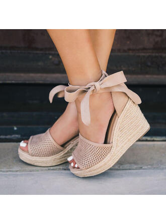 Women's Leatherette Wedge Heel Sandals Pumps Platform Wedges Peep Toe Heels With Lace-up Hollow-out shoes
