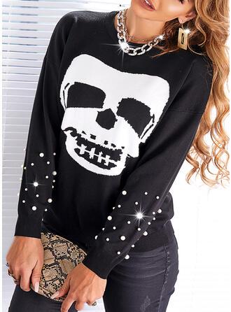 Halloween Print Skull head Round Neck Casual Sweaters