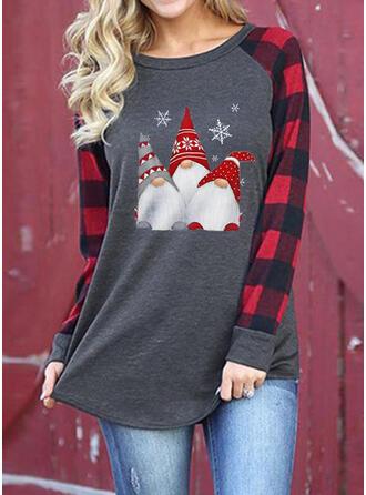 Drucken Rundhalsausschnitt Lange Ärmel Freizeit Weihnachten T-shirts