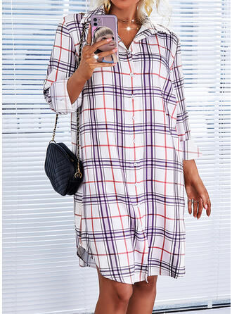 Plaid Long Sleeves Shift Knee Length Casual Shirt Dresses