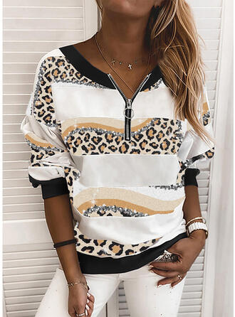 Drucken Leopard V-Ausschnitt Lange Ärmel Pullover