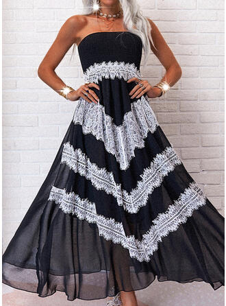 Lace/Color Block Sleeveless A-line Skater Casual/Vacation Maxi Dresses