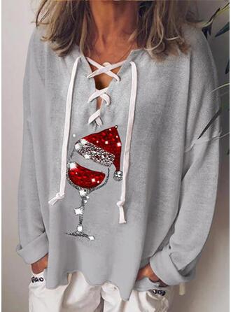Pailletten V-Ausschnitt Lange Ärmel Freizeit Weihnachten Blusen