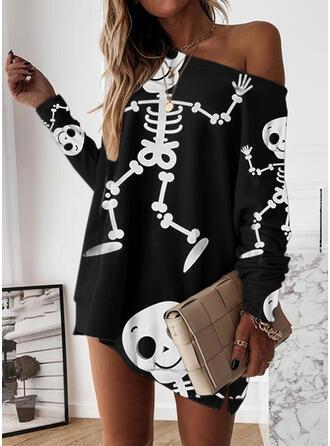 Halloween Print Long Sleeves Dropped Shoulder Shift Above Knee Casual Sweatshirt Dresses
