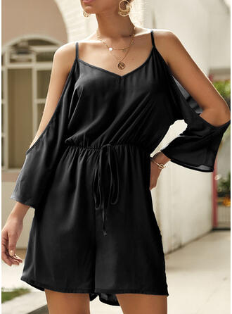 Solid Strap Off the Shoulder 3/4 Sleeves Casual Romper