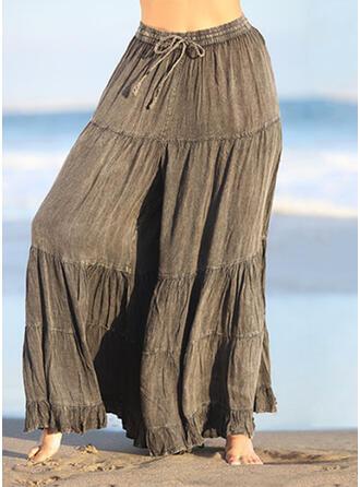 Geometrisch Shirred Übergröße Kordelzug Lässige Kleidung Elegant Jahrgang Lounge Pants