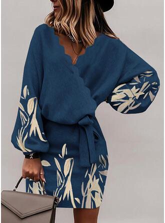 Print Long Sleeves Bat Sleeve Bodycon Above Knee Casual Wrap Dresses