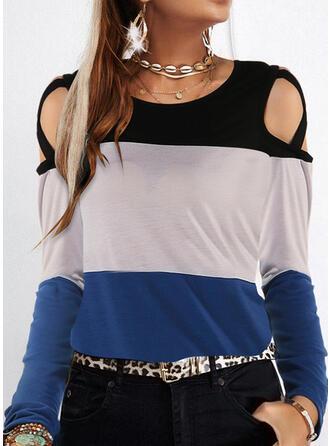 Color Block Cold Shoulder Long Sleeves T-shirts