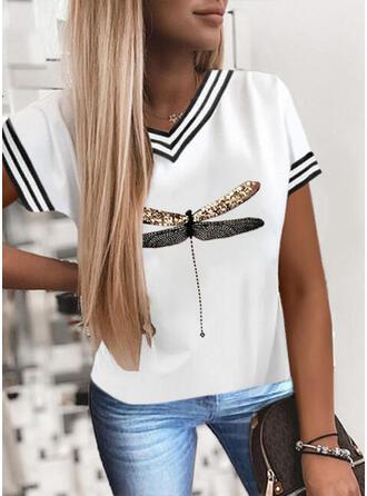 Animal Print Sequins V-Neck Short Sleeves T-shirts