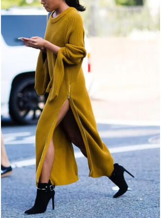 Einfarbig Lange Ärmel Shift Pullover Freizeit Maxi Kleider