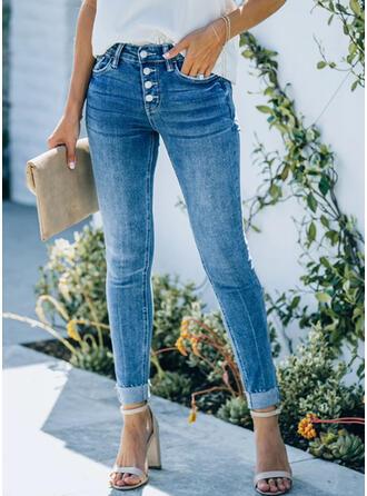 Shirred Plus Size Elegant Skinny Denim & Jeans