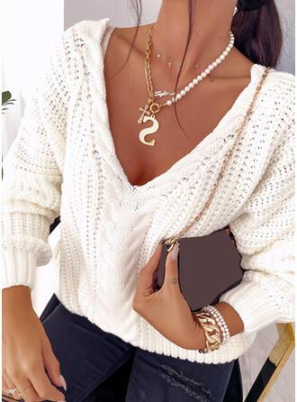 Einfarbig Zopfmuster V-Ausschnitt Freizeit Pullover