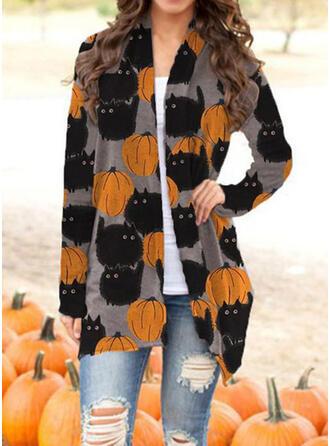 Halloween Long Sleeves Print Jackets