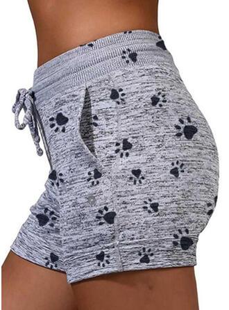 Animal Print Drawstring Casual Sporty Shorts