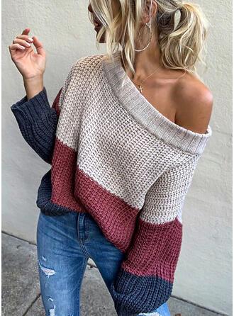 Geblockte Farben Gerippt Grobstrick One-Shoulder Freizeit Sexy Pullover