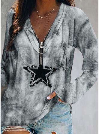 Print Sequins Tie Dye V-Neck Long Sleeves Casual Blouses