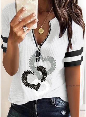 Print Striped Heart V-Neck Short Sleeves Casual Blouses