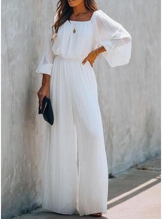 Einfarbig Rechteckige Kragen Lange Ärmel Lässige Kleidung Elegant Overall