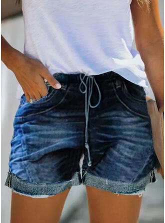 Shirred Drawstring Tribal Vintage Shorts Denim & Jeans