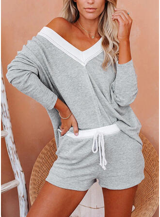 Patchwork Drawstring Casual Sporty Suits