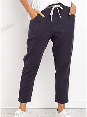 Taschen Shirred Midi- Lässige Kleidung Einfarbig Hosen