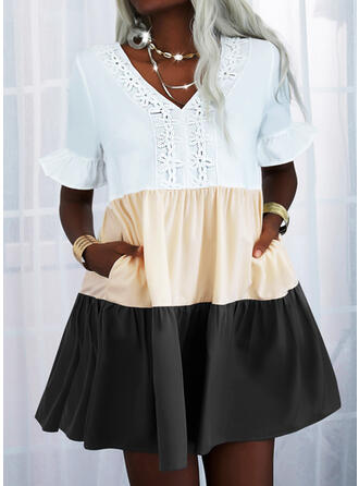 Lace/Patchwork Short Sleeves Shift Above Knee Casual Tunic Dresses