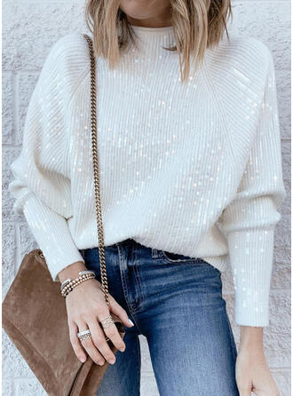 Solid Sequins Stand Collar Casual Sweaters