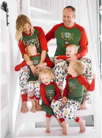 Deer Letter Cartoon Family Matching Christmas Pajamas