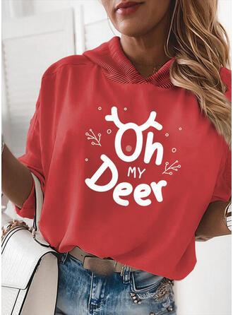 Drucken Figur Lange Ärmel Weihnachts-Sweatshirt