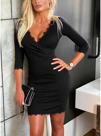 Lace/Print 3/4 Sleeves Bodycon Above Knee Elegant Dresses