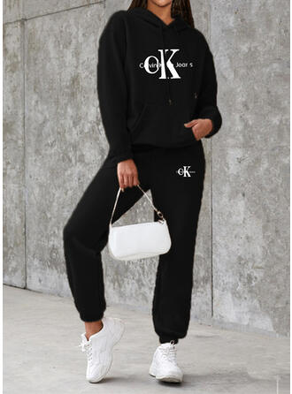 Letter Print Sporty Casual Plus Size Sweatshirts & Two-Piece Outfits Set