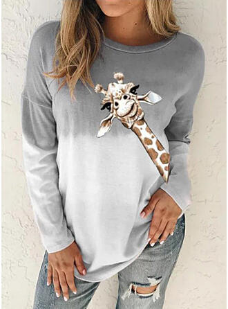 Animal Print Gradient Round Neck Long Sleeves Sweatshirt