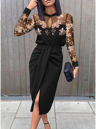 Print/Floral Long Sleeves Sheath Knee Length Party/Elegant Dresses
